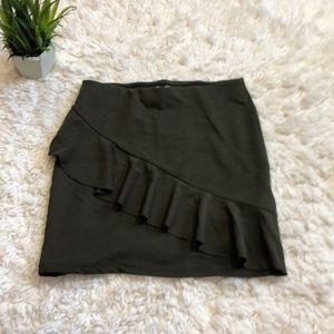 Zara army green tiny ribbed mini skirt